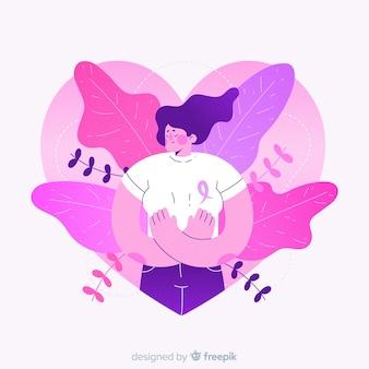 Cancer du sein dessiné à la main avec ruban