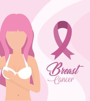 Cancer du sein femme avec ruban rose