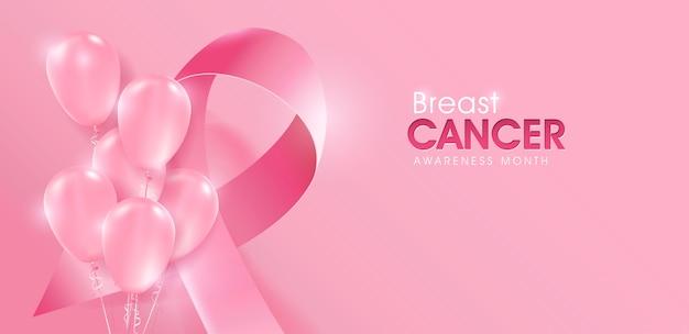 Cancer du sein mois de sensibilisation octobre fond de ballons roses