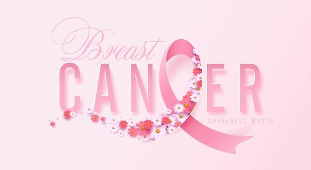 Cancer du sein mois de sensibilisation octobre ruban rose et fond de fleurs
