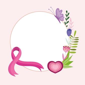 Cancer du sein ruban rose coeur fleurs papillon décoration étiquette illustration