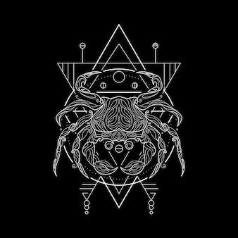 Cancer du zodiaque, style geometri
