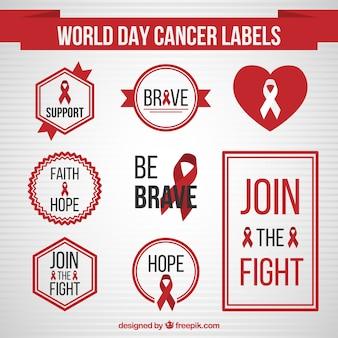 Cancer de la journée mondiale des étiquettes design plat