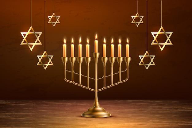 Candélabre de menorah réaliste de vacances juives de hanoukka avec des bougies