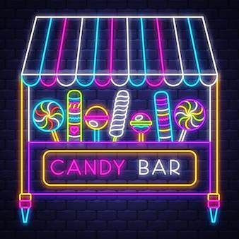 Candy bar - néon signe vecteur. candy bar - enseigne au néon sur fond de mur de brique