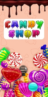 Candy shop, bonbon sucré différent, sucettes, chocolat, gelée. menu modèle pour caffe, cafeteris, illustration vectorielle, style cartoon, bannière d'affiches orientation verticale isolée