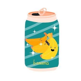 Canette de soda à la banane canette en aluminium de limonade kawaii cute fruits stock vector illustration