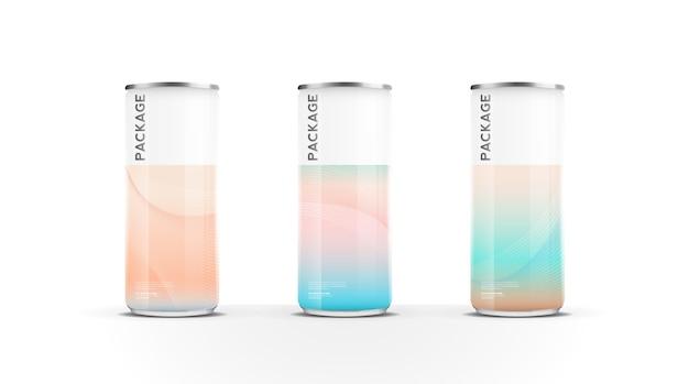 Canettes en aluminium pour boisson énergisante de jus d'eau de bière ou pack de soda maquette vecteur de conception de modèle