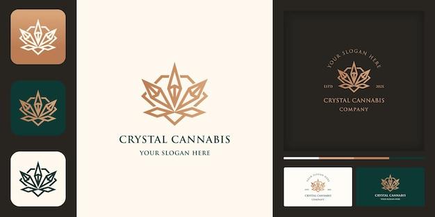 Cannabis Avec Feuille De Cristal, Diamant Et Carte De Visite Vecteur Premium