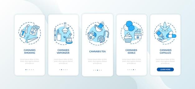 Le cannabis forme l'écran de la page de l'application mobile avec des concepts. vaporisateur d'herbe, procédure pas à pas pour le thé au cannabis, instructions graphiques en 5 étapes. modèle vectoriel d'interface utilisateur avec illustrations en couleur rvb