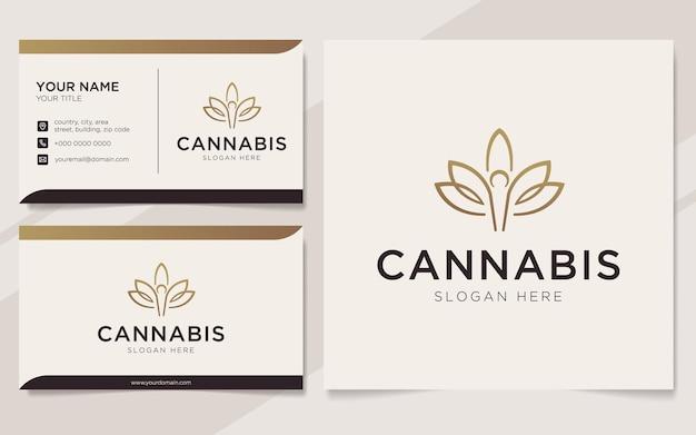 Cannabis de luxe avec logo de personnes et modèle de carte de visite
