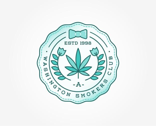 Cannabis médical marijuana signe ou modèle d'étiquette dans le vecteur. peut être utilisé comme logotype.