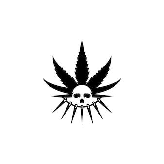 Cannabis avec modèle de conception de logo de crâne