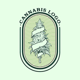 Cannabis vintage logo weed