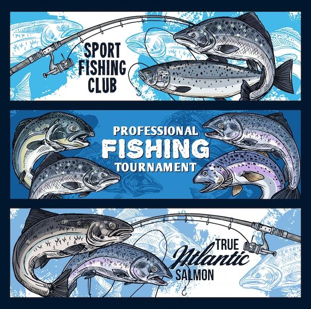 Canne à pêche avec poisson saumon. tournoi des pêcheurs