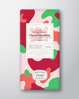 Canneberge chocolat étiquette formes abstraites vecteur mise en page de conception d'emballage