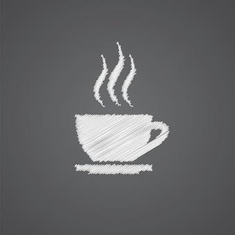 Cap de thé croquis logo doodle icône isolé sur fond sombre