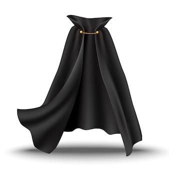 Cape noire avec détails dorés. tissu fluide et ondulé pour carnaval, vampire, sorcières ou illusionnistes.