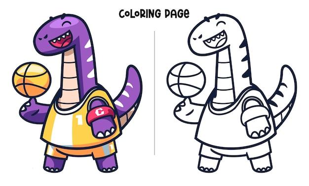 Capitaine brachiosaurus faisant du basket-ball de jonglerie