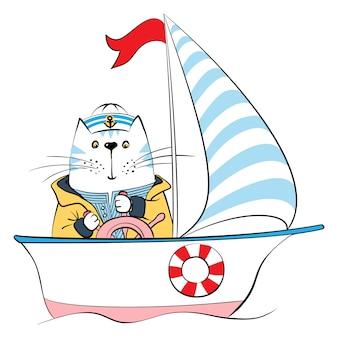 Capitaine de chat sur le navire