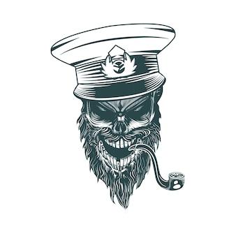 Capitaine de crâne avec une pipe