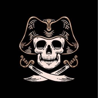 Le capitaine du modèle vectoriel premium des pirates du crâne
