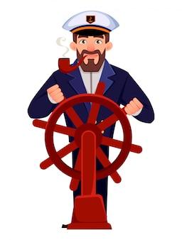 Capitaine du navire en uniforme professionnel