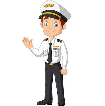 Capitaine heureux dessin animé, agitant la main