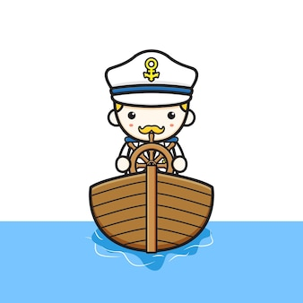 Capitaine mignon équitation illustration d'icône de dessin animé de bateau. concevoir un style cartoon plat isolé