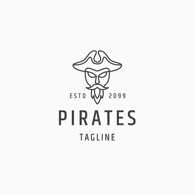 Capitaine pirate dessin au trait logo icône modèle de conception vecteur plat