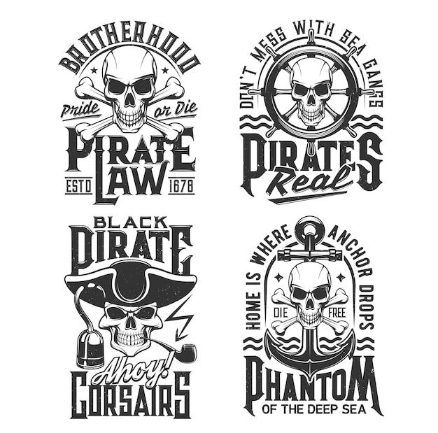 Le capitaine de pirate et le t-shirt de crâne de corsaire impriment une maquette vectorielle de piratage. crânes et tête de squelette de capitaine pirate mort, corsaire ou marin avec chapeau, crochet et ancres, barre, roue et vagues de la mer