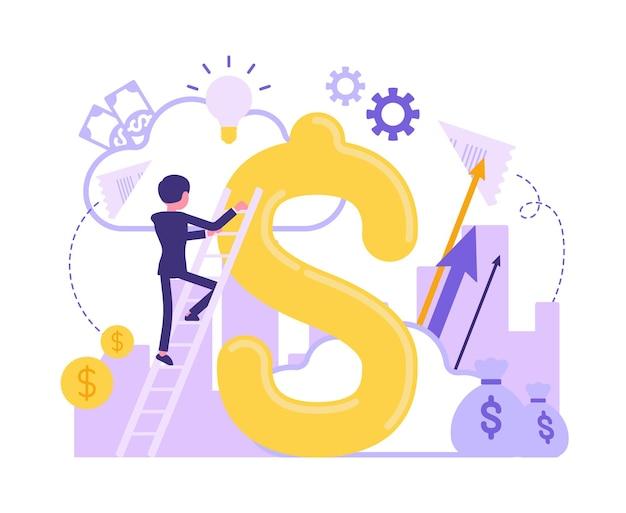 Capital d'affaires et signe géant du dollar