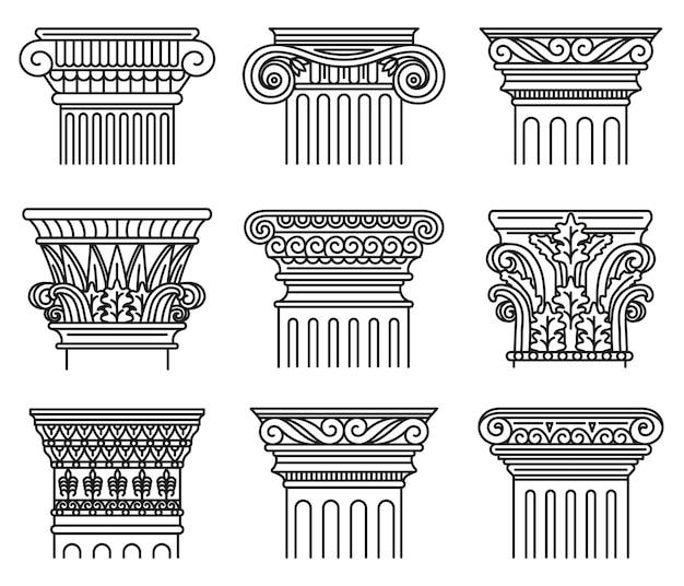 Capitales grecques antiques. ordres architecturaux, ensemble d'illustrations de capitales antiques ioniques et doriques