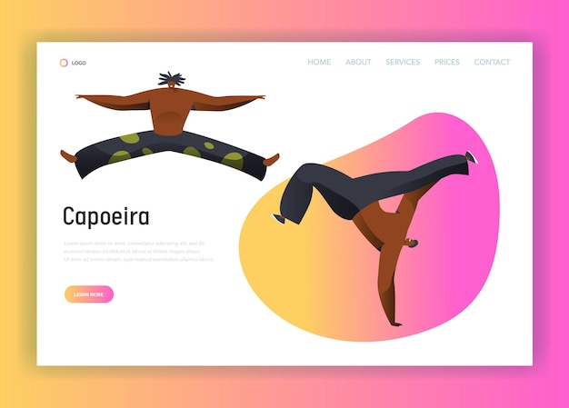 Capoeira brazil man combat dance landing page.