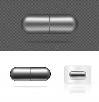 Capsule de médecine métallique de pilule transparente réaliste