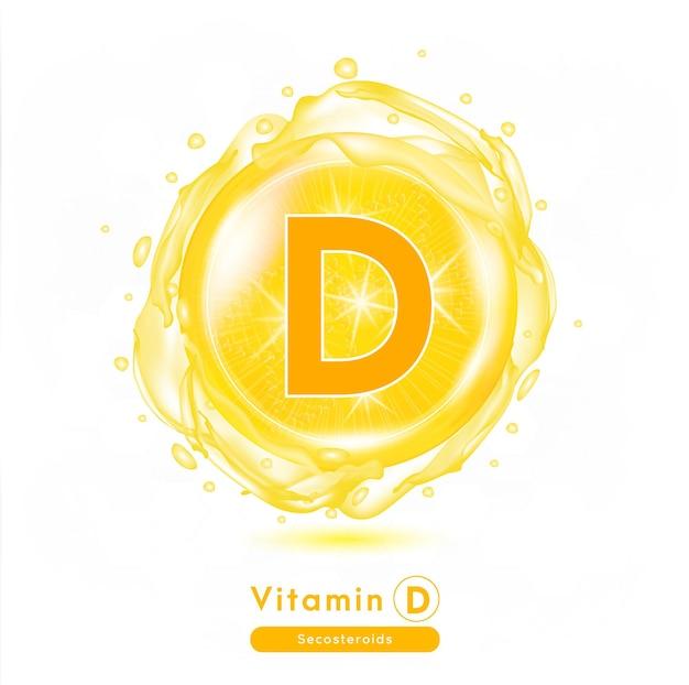 Capsule de médecine de vitamine d substance orange concept d'amélioration de la beauté anti-vieillissement