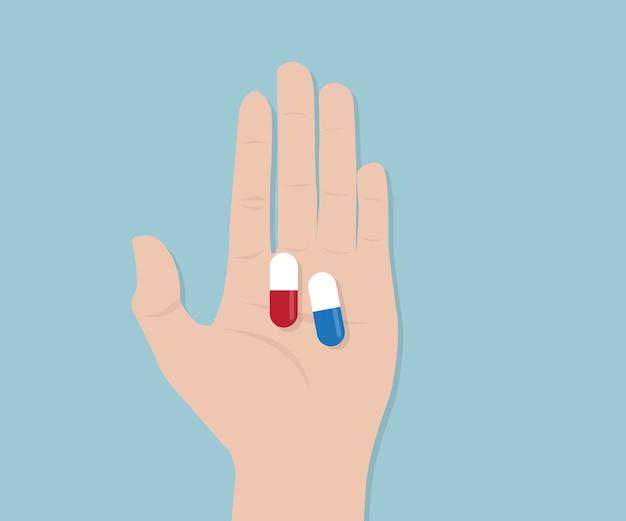Capsule pilule dans l'illustration vectorielle de main de l'homme
