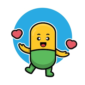 Capsule de pilule mignonne tenant l'illustration de dessin animé de coeur