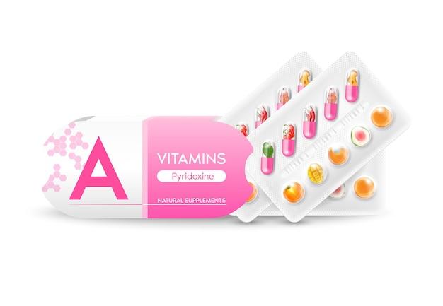 Capsule de vitamine a compléments naturels vitamines et minéraux légumes fruits dans un emballage de médicament