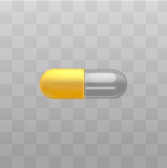 Capsules jaunes et transparentes de médicament médical sur fond.