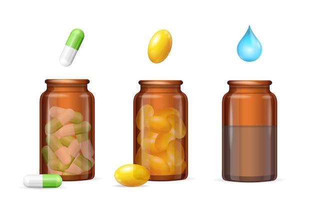 Capsules de pilules dans un ensemble de bouteilles brunes en verre médical. illustration vectorielle
