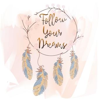 Capteur de plumes et de rêves sur fond rose