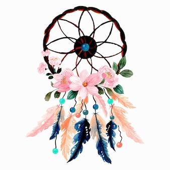 Capteur de rêves aquarelle avec fleur rose