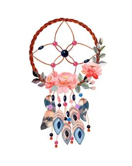 Capteur de rêves aquarelle avec fleur
