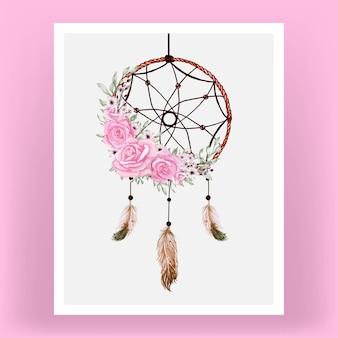 Capteur de rêves aquarelle avec fleurs roses et plume