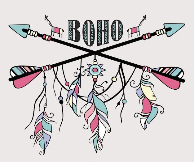 Capteur de rêves ethnique dessiné à la main. flèches ethniques, plumes.
