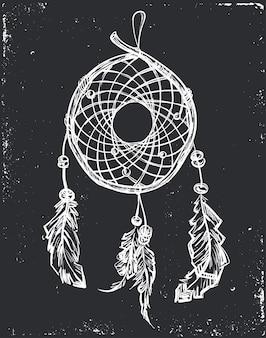 Capteur de rêves ethnique indien avec plumes