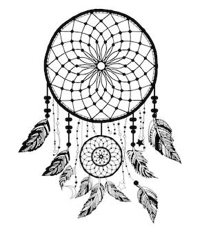 Capteur de rêves avec flèche et plumes vecteur dessiné à la main.