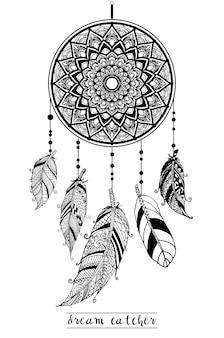 Capteur de rêves avec des flèches et des plumes vecteur de style dessiné à la main.
