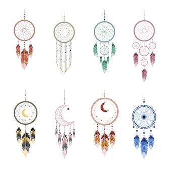 Capteur de rêves avec mandala et plumes